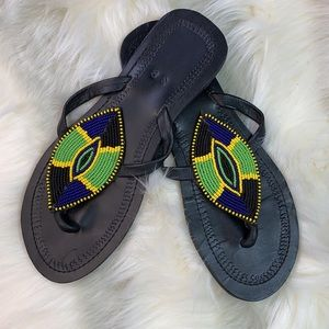 VINTAGE: Black Leather Beaded Flip Flop